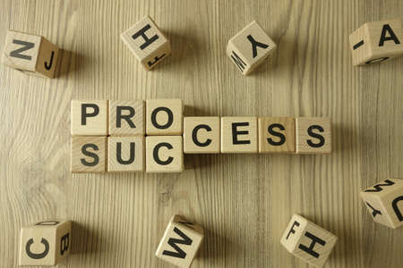 Word process changing into success from wooden blocks, successful business concept