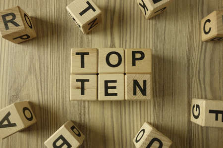 Text top ten from wooden blocks, competition ranking concept