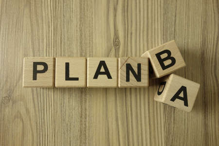 Text plan A or B from wooden blocks, business strategy concept
