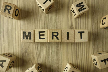 Word merit from wooden blocks, business contribution and advantage concept