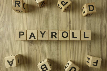 Word payroll from wooden blocks, economy concept