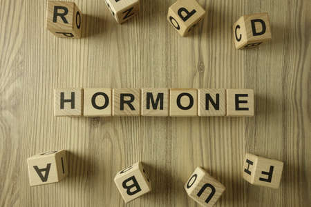 Word hormone from wooden blocks, healthcare concept