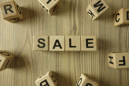 Word sale from wooden blocks, price reduction