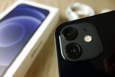 KONSKIE, POLAND - November 22, 2020: iPhone 12 cameras closeup 新闻类图片
