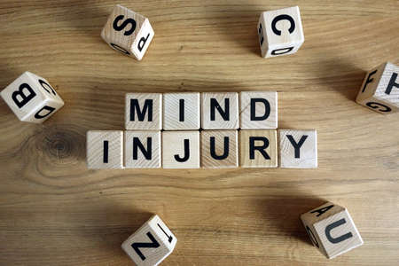 Text mind injury from wooden blocks, mental health problem concept