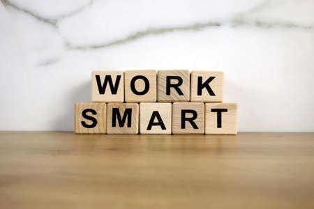 Text work smart from wooden blocks, motivation concept 免版税图像