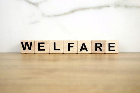 Word welfare from wooden blocks, prosperity concept