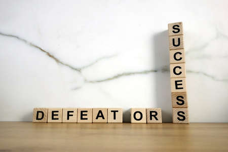 Text defeat or success from wooden blocks, business rivalry concept