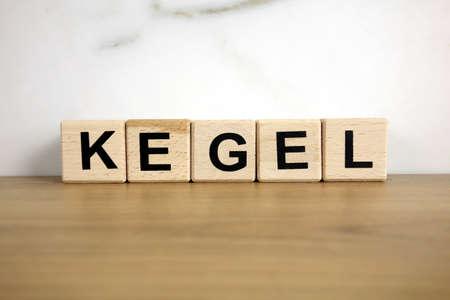 Kegel word from wooden blocks, medical concept