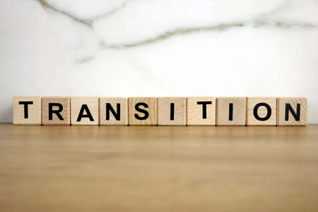 Transition word from wooden blocks, vision and development concept