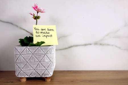 You are born to make an impact text handwritten on sticky note with blossoming flower, positive attitude concept 免版税图像
