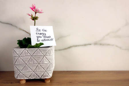 Be the energy you want to attract text handwritten on sticky note with fresh blossoming flower, law of attraction concept