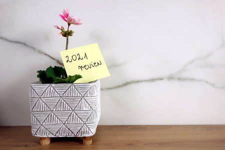 Text 2021 review handwritten on sticky note with blossoming flower, year summary concept