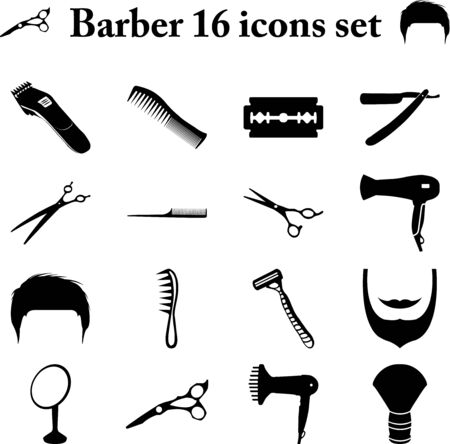barber scissors: Barber and scissors 16 simple icons set Illustration