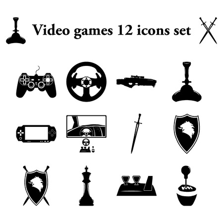 simulators: Video games and simulators 12 simple icons set