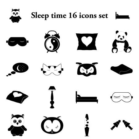 restful: Sleep time and comfort sleeping 16 simple icons set Illustration
