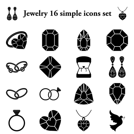 bijouterie: Jewelry and diamonds 16 simple icons set