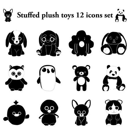 stuffed: Stuffed and plush toys 12 simple icons set Illustration
