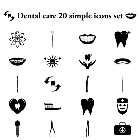 cavity braces: Dental care 20 simple icon on colorful round background