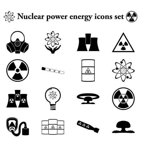 gas mask warning sign: Nuclear power energy 16 simple icon on colorful round background
