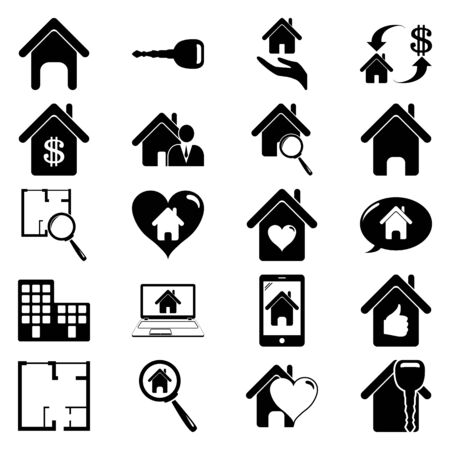 valuation: Real eastate 20 simple icon on colorful round background Illustration