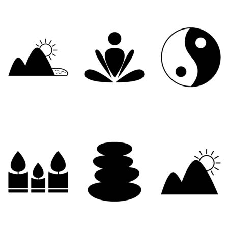 alternative rock: Relaxation rest harmony 6 simple  icons set Illustration