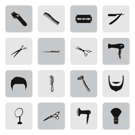 barber scissors: Barber and scissors 16 simple icons set on background Illustration