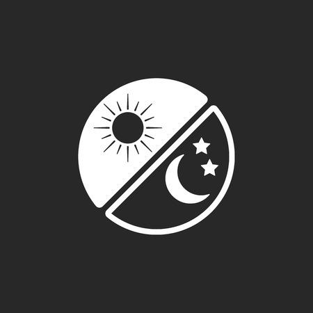 Giorno e notte cambiamento cerchio segno semplice icona su sfondo