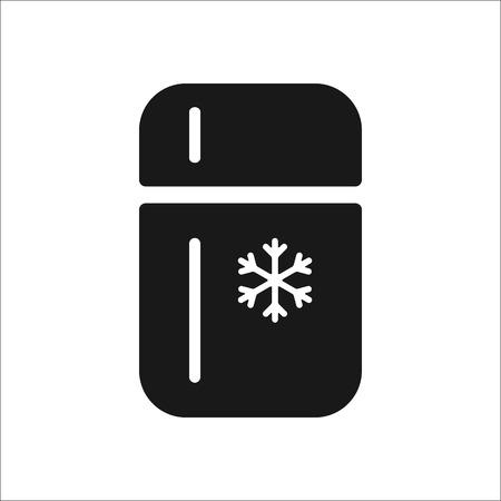 icebox: Refrigerator with nowflake sign simple icon on  background