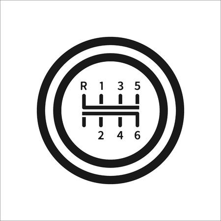 Versnellingspook handgeschakelde versnellingsbak ondertekenen eenvoudige pictogram op de achtergrond