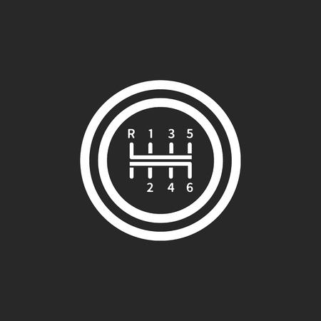 Changement de vitesse transmission manuelle simple signe icône sur fond