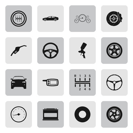 disk break: Car details and service sign simple icons set on  background