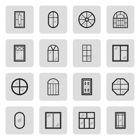 planking: Different creative and standard house windows forms sign simple icon set on  background Illustration