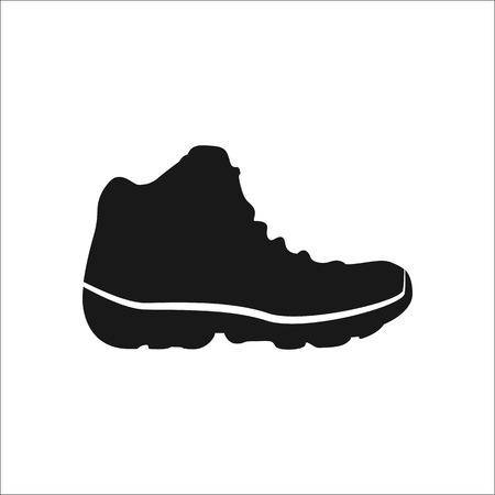 Hike tourist boot shoe sign simple icon on  background Vectores