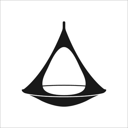hammock: Camping hammock sign simple icon on  background Illustration