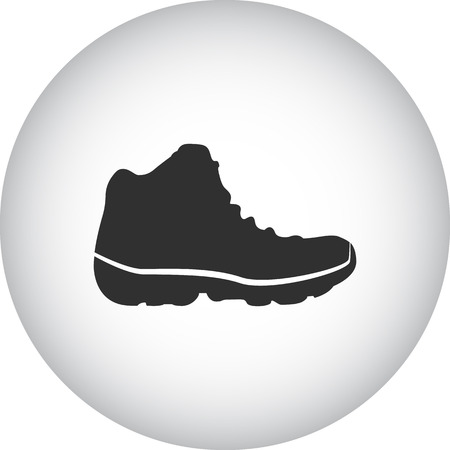 safety shoes: Hike tourist boot shoe sign simple icon on  background Illustration