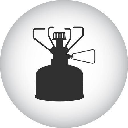 travel burner: Gas stove camping sign simple icon on  background