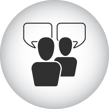 group discussion: Group discussion management team sign simple icon on  background