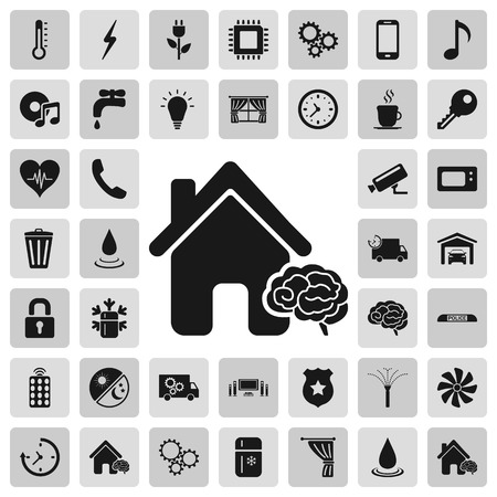 Smart house details and service sign simple icons set on background