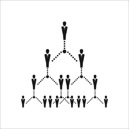 hierarchy: Business organization team hierarchy sign simple icon on  background Illustration