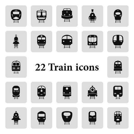 high speed railway: Set of transport icons - Train and Tram, vector illustration