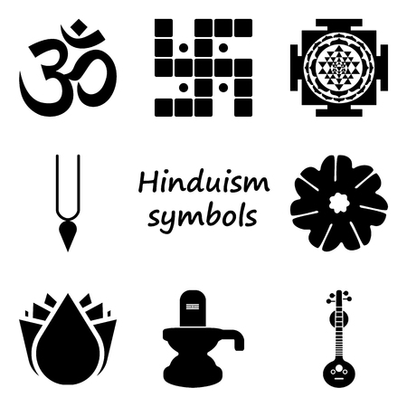 hinduism: Hinduism symbol sign simple icon set on background