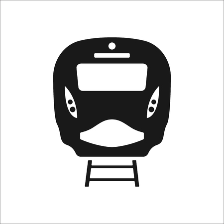 locomotion: Passenger train front sign simple icon on background