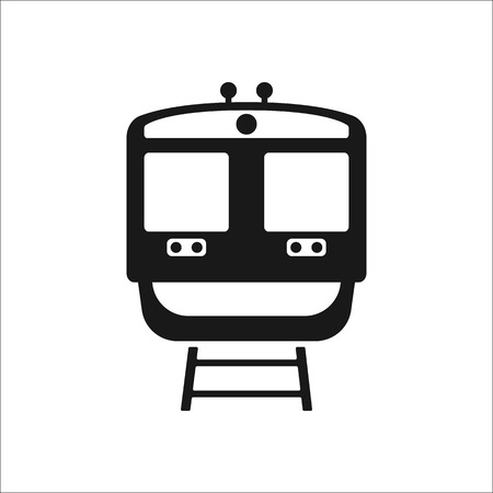 metro train: Metro train front sign simple icon on background Illustration