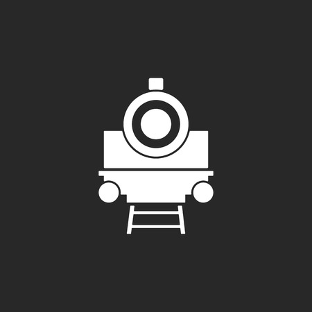 old train: Retro old train sign simple icon on background Illustration