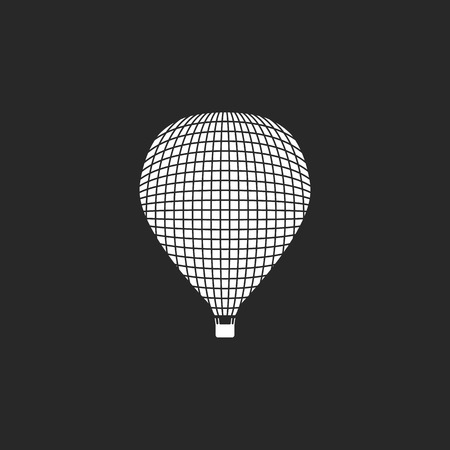 ballooning: Hot air balloon flying sign simple icon on background