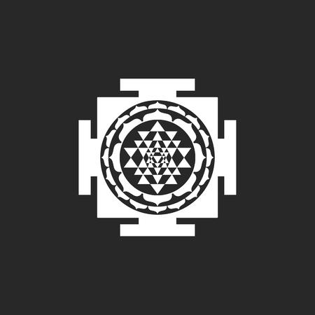 Sri Yantra symbol sign simple icon on background