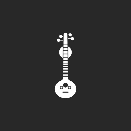 frets: Musical instrument veena sign simple icon on background