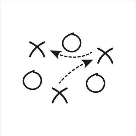 배경에 스포츠 축구 축구 전술 전략 간단한 아이콘 일러스트