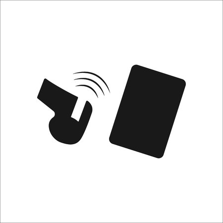 soccer referees hand with red card: Sport soccer referee whistle and card simple icon on background